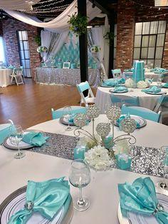 Tiffany & Co. Tiffany Blue Party, Tiffany Birthday Party, Tiffany Blue Weddings, Tiffany Theme, Tiffany Wedding, Tiffany Sweet 16, Quinceanera Decorations, Bridal Shower Decorations, Wedding Centerpieces