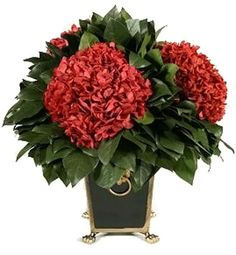 Forever Green Art Preserved Three Head Red Hydrangea with Tole Container | $216.60 | amazon.com