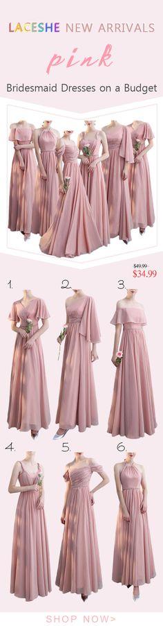 ac30cbebbd3 Women s Blush Chiffon Bridesmaid Dress. LaceShe