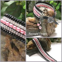 DIVA 5 Row Beaded Leather Wrap Bracelet made by RAVENGIRL DESIGNS on Facebook