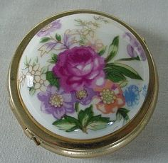 Vintage Pill Box Gold Tone & Enamel Painted Floral Design Hong Kong