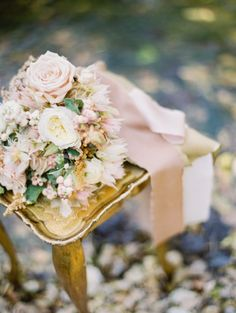 smitten magazine feature: gold tones bridal bouquet with silk ribbon