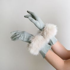 Vintage Mint Green Long Fur Gloves, via Etsy. These would have matched my rabbit coat as a little girl, you know, the ones with the pom pom drawstring for the hood, and my muffy!!
