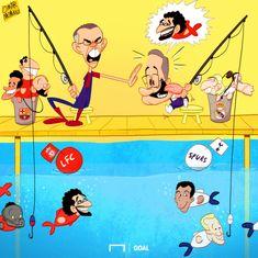 «Барселона» и «Реал» любят рыбачить в английских озерах - Футбольные карикатуры - Блоги - Sports.ru