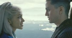 Seychelle Gabriel as Princess Yue and Jackson Rathbone as Sokka in the movie The Last Airbender
