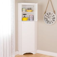 Tall 2 Door Corner Storage Cabinet in Elite White