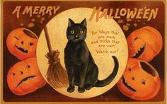 Vintage Halloween. I don't get the poem but the pumpkins and kitty cat are cute.
