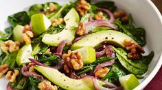 Wilted Spinach Salad With Grilled Onions, Walnuts, Avocado, And Apple