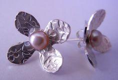 Flower Pearl Stud Earrings by megangillis on Etsy, $42.00