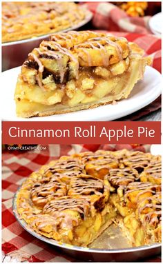 This cinnamon roll apple pie is a combination of two popular desserts into one amazing dish. Rich, decadent apple pie filling sits on a flaky crust. All of this is topped with irresistible cinnamon rolls and drizzled with icing. OHMY-CREATIVE.COM #cinnamonrollapplepie #thanksgivingpie #applepierecipe #falldessert #cinnamonroll #pierecipe Apple Pie Recipes, Homemade Apple Pies, Cinnamon Roll Apple Pie, Dessert Dips, Dessert Recipes, Just Desserts, Fall Desserts, Icing Ingredients, Holiday Baking