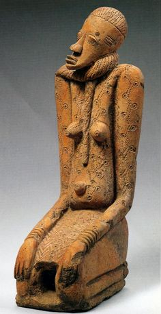 Kneeling Figure with Snake, Jenne-jeno terracotta figure, Mali, c. 12th-15th century; Private Collection