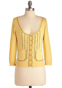 Whip-stitch it Good Cardigan by Knitted Dove - Short, Yellow, Multi, Work, 3/4 Sleeve, Spring