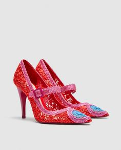 Image 1 of CROCHET HIGH-HEEL PUMPS from Zara