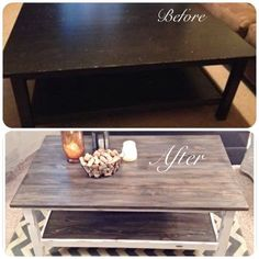 IKEA coffee table use to be all black, now it's been given a shabby chic makeover and looks fabulous! (SJM Furniture) Painted furniture, painted coffee table, DIY coffee table, distressed, IKEA hack.