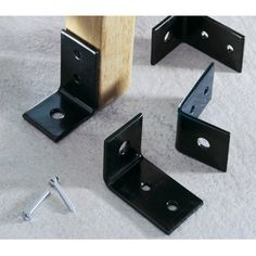 Oxford Garden Steel Anchor Brackets - Set Of . Use these anchor brackets to secure furniture in busy or public areas or to prevent unwanted movement. Powder coated with stainless steel hardware, these brackets come in sets of four with ten screws. Teak Garden Bench, Planter Bench, Wooden Garden Benches, Wooden Planters, Outdoor Benches, Garden In The Woods, Garden Furniture, Furniture Decor, Black And Brown