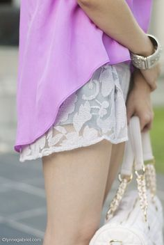 Fashion blogger Lynne Gabriel styling the Shelley top in violet and Ping Ping shorts in dove mesh  http://www.katiemay.net/shop/shelley/  http://www.katiemay.net/shop/ping-ping/