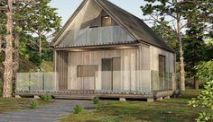 Projekt domu letniskowego DL-1 o pow. 46,62 m2 z dachem dwuspadowym, z tarasem, sprawdź! Shed, Outdoor Structures, Backyard Sheds, Sheds, Coops, Barn, Tool Storage