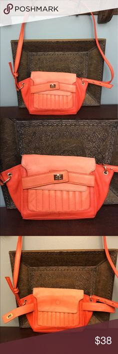 "Kelsi Dagger leather bag Super SOFT peach and orange leather crossbody with turn key and magnetic closure. Gold color embellishments used to lengthen the strap in which measures 47"" at longest. Purse measures 12"" x8.5"" Kelsi Dagger Bags Crossbody Bags"
