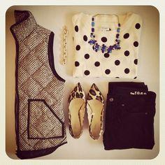 Tweed vest + polka dot three quarter length shirt + statement necklace + black skinnies + leopard heels.