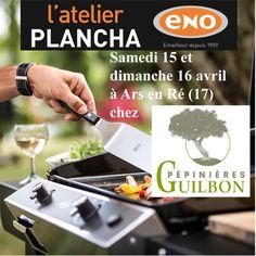 Atelier Plancha ENO vendredi 14 et samedi 15 avril à la Pépinière Guilbon à Arts en Ré (17) - Cours de cuisine à la plancha avec un chef pour apprendre à cuisiner sur la Plancha ENO. Conseils et astuces de cuisson et de nettoyage. Cours de cuisine sur réservation auprès du magasin au 05 46 29 46 39