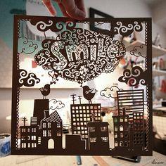 Smile - handcut paper sculpture by MirDinara http://www.etsy.com/shop/MirDinara #paper_cut #paper_art #houses