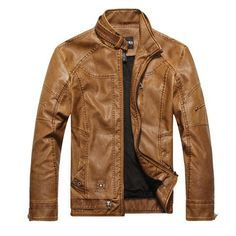 2016 Brand PU Leather Jacket Jaqueta Couro Masculino Bomber