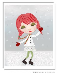 Winter Wonderland Illustration. Holiday Decor. Whimsical Wall Art With Christmas Colors. Cute Redheaded Little Girl On Snow Day Print.
