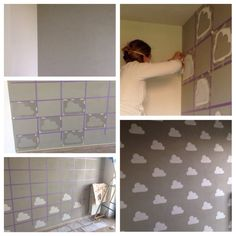 #Cloud #grey #nursery #stencil