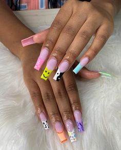Acrylic Nails Coffin Pink, French Tip Acrylic Nails, Square Acrylic Nails, Acrylic Nail Designs, Bright Nails, Funky Nails, Arylic Nails, Drip Nails, Glamour Nails