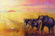 Paula Wiegmink Painting: 'Elephants At Dusk' Wild Life, Dusk, Elephants, Moose Art, Birds, Painting, Animals, Animaux, Bird