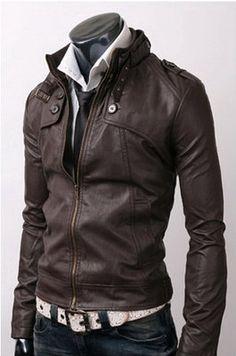 handmade Men Dark brown color Leather Jacket, men brown leather jacket, Men stylish slim browm leather jacket. $119.99, via Etsy.