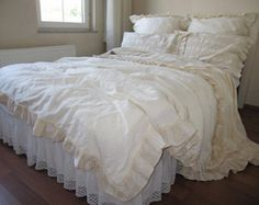 Create a Romantic look in your bedroom with this LINEN RUFFLE TOP SHEET -    Linen after the first wash cycle (only once) can give shrinkage of about 2-5 percent. Please consider this fact when choosing bed linen or clothing. Due to this matter I advice you to measure it little bigger than it already is.    **I was created in a Smoke Free, Pet Free Home** ***Machine wash in 30°C water ***Do not bleach  ***Tumble dry, low  ***Iron, high temperature…