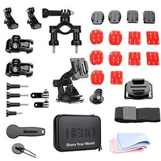 Dazzne Action sport camera Accessory Kit for Gopro Hero 4 3 SJCAM Bicycle handlebar mount Tripod mount buckle basic mount flat Curved mount Suction Cup JHook wrist strap waterproof carrying case >>> Click on the image for additional details.