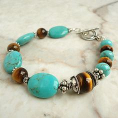 Turquoise and Tiger Eye Gemstone Bracelet, Bali Sterling Silver, Handmade Jewelry for Women, $69.95