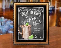 These unique 8 x 10 chalkboard style signature drink signs add character and charm to your event. Perfect as a decoration at bridal showers, rehearsal dinners and wedding receptions, the print doubles as a fun keepsake gift for the bride and groom. Even destination weddings can be easily accessorized with such a lightweight, portable print, making it a practical and personal accent for your special celebration.  This listing features a particular glass style filled with a particular colored…