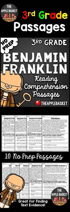 Benjamin Franklin No Prep Reading Comprehension Passages for Third Graders: Great for finding text-based evidence!