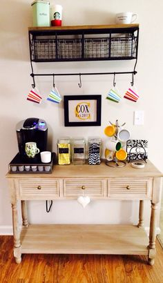 Kitchen, Small Coffee Station Table With Drawer And Storage Plus Hanging Cup Hooks Under Cabinet With Shelf Ideas ~ Coffee Station Furniture