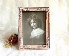 Shabby Cottage Chic decor picture frame pink distressed ornate by HydrangeaHillVintage, $17.95