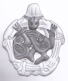 Drawing of Borre-style gripping beast pendant. 34 mm, Ukraine. See: http://lifeartearth.blogspot.com/2015/05/a-viking-bound-gripping-beast-pendant.html