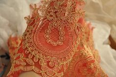 Victoria Alencon Lace Trim in Gold Thread Red Gauze for Bridal Veil Wedding Gown Garters