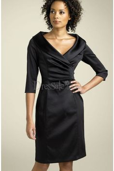 Flattering Satin Sheath Mother of Bridesmaid Dress with Sleeves