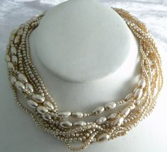 Vintage Miriam Haskell multi-strand baroque pearl necklace  Unique vintage, antique, costume and estate jewelry.