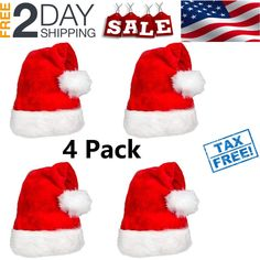 1b9866e3a97 Plush Santa Hats High quality red fuzz Christmas Hat for Christmas Party 4  Pack!