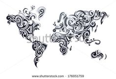 World map in black and white pinterest outlines floral designs world map tattoo our earth as one tribe concept illustration gumiabroncs Gallery