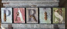 SHABBY FRENCH CHIC PARIS FRANCE WOOD IRON LETTER BLOCKS SIGN PLAQUE WALL DECOR #VHD #FrenchCountry