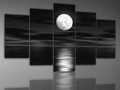 A BLACK AND WHITE MODERN ABSTRACT PIECE DISPLAYING A COOL MIDNIGHT MOON CASTING ITS LIGHT OVER THE TRANQUIL OCEAN - FRAMED 5 PIECE WALL ART. - MODERN ABSTRACT ART ON CANVAS. - FREE SHIPPING - SIZE: 10