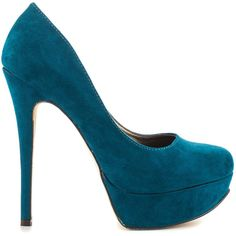 Michael Antonio Women's Lily Sue - Teal Micro ($55) ❤ liked on Polyvore featuring shoes, pumps, heels, blue, blue high heel shoes, blue pumps, blue platform pumps, teal platform pumps and round toe pumps