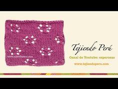 Punto flores caladas tejido en dos agujas o palitos - YouTube