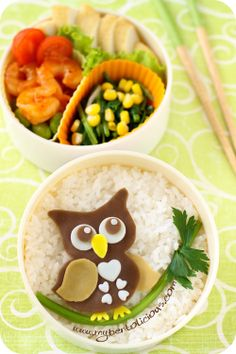 Owl Bento #@Roxie Smith- Saw this cute one. I love it! Will you make me an owl bento lunch? Pwease?