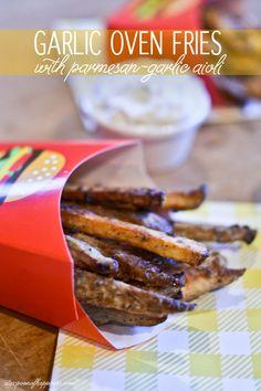 Garlic Oven Fries with Parmesan Garlic Aioli - ateaspoonofhappiness.com